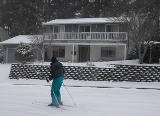 Skier in front our house