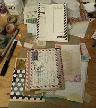 Postcard journal pages